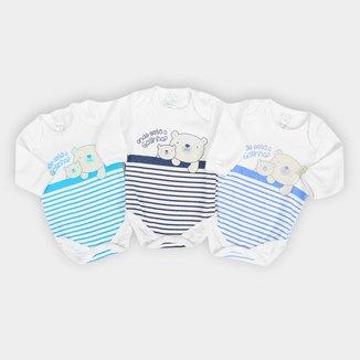 Kit Body Bebê Petutinha Manga Longa Suedine Ursinho 3 Peças Masculino