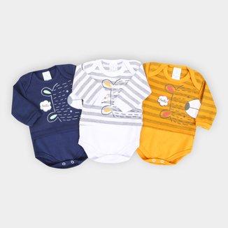 Kit Body Bebê Petutinha Suedine Manga Longa - 3 Peças