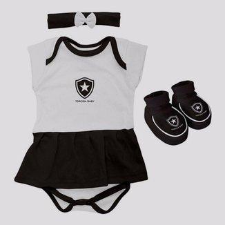 Kit Body Botafogo Feminino Preto e Branco