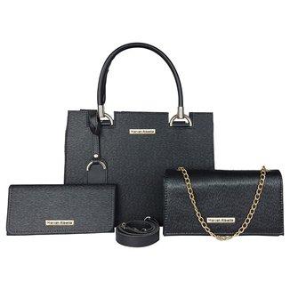Kit Bolsa Flap Handbag e Carteira Feminina Com Textura