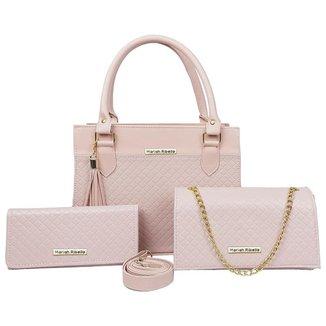 Kit Bolsa Handbag Com Flap e Carteira Feminina