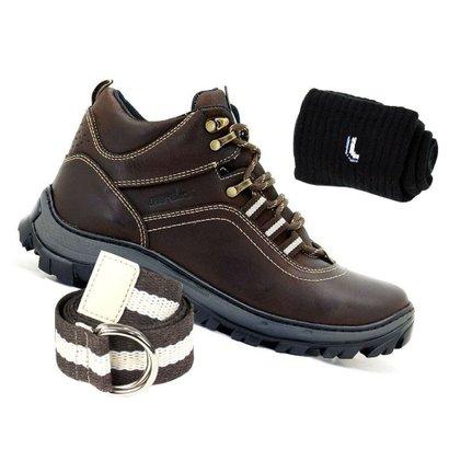 Kit Bota Adventure Atron Shoes Couro + Cinto e Meia Lupo