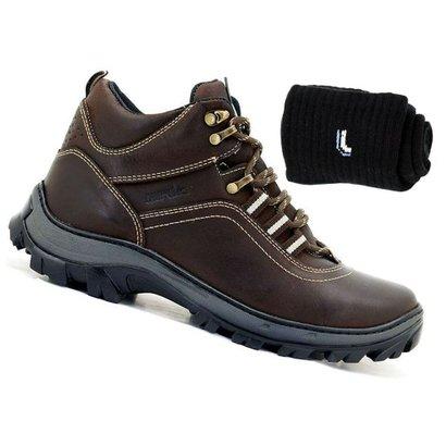 Kit Bota Adventure Atron Shoes Couro + Meia Lupo