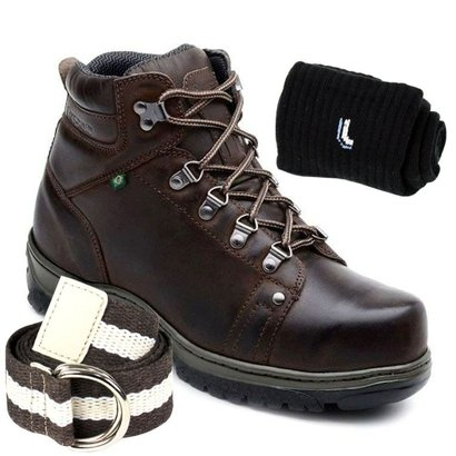 Kit Bota Adventure Ranster Off Road Couro + Cinto+ Meia lupo