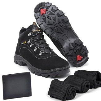 Kit Bota Couro Adventure Sucupira Preta com Carteira e 3 meias Masculina