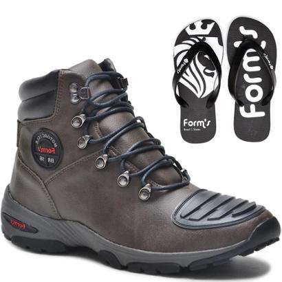 Kit Bota Motociclista Casual Resistente + Chinelo FormS Masculino