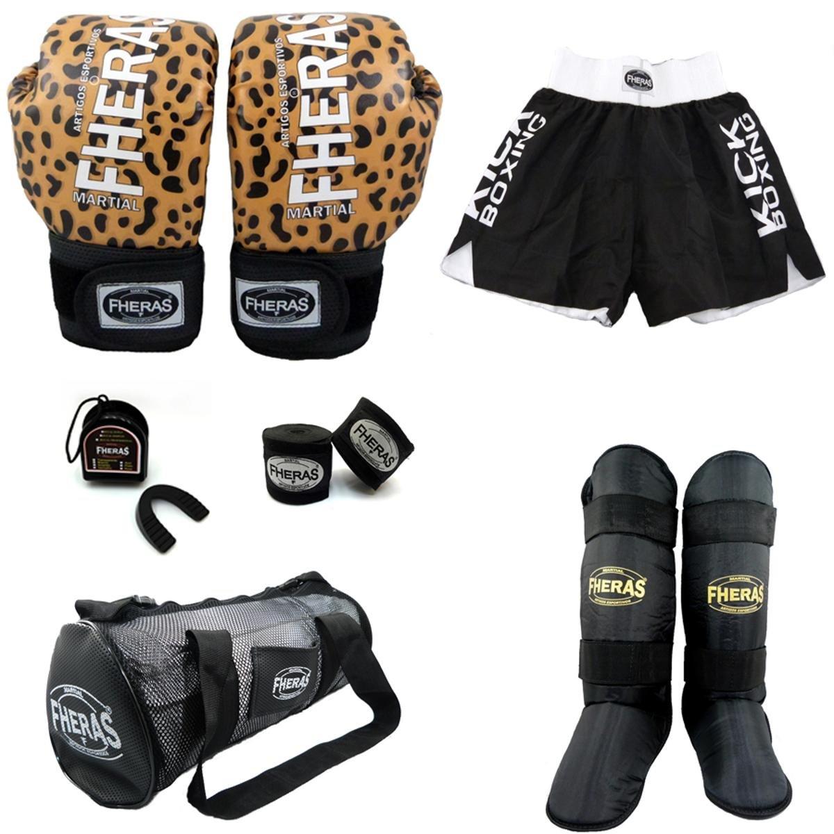 Kit Boxe Fheras Top Luva Bandagem Bucal Caneleira Bolsa Shorts 12 OZ Onça  ... 65b4224b71ea4