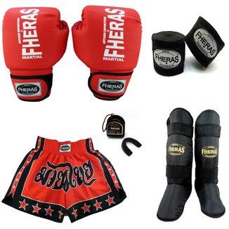 Kit Boxe Fheras Trad + Caneleira + Shorts + Bolsa -12 oz