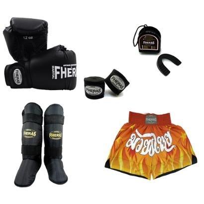 Kit Boxe Luva Bandagem Bucal Caneleira Shorts