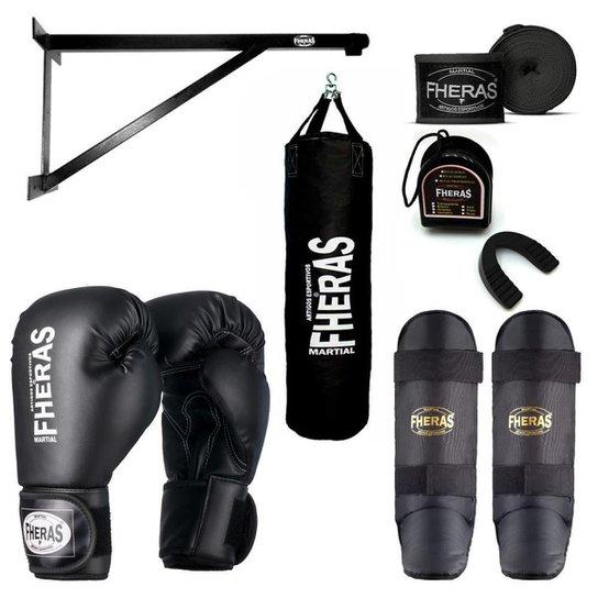 Kit Boxe Muay Thai com Suporte e Saco de Pancadas 100x100 cm - Preto