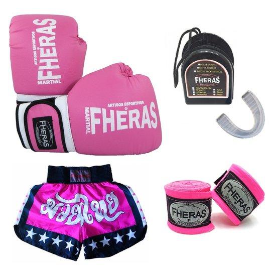 Kit Boxe Muay Thai Fheras Luva + Bandagem + Bucal + Shorts - Rosa