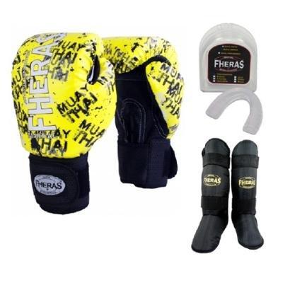 Kit Boxe Muay Thai Fheras Luva+Bucal+Caneleira Free