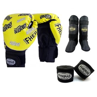 Kit Boxe Muay Thai Fheras New Top Luva+Band+Caneleira Free Tailandesa