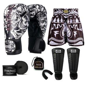 Kit Boxe Muay Thai Fheras Top Caveira Branca (03003489)