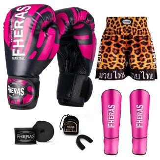 Kit Boxe Muay Thai Fheras Top Elite Rosa (03002501)