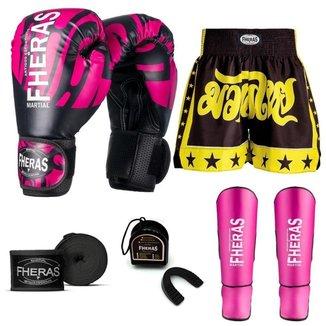 Kit Boxe Muay Thai Fheras Top Elite Rosa (03002519)