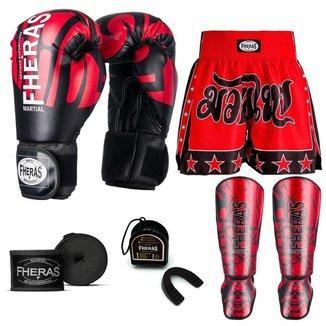 Kit Boxe Muay Thai Fheras Top Elite Vermelho (03002268)