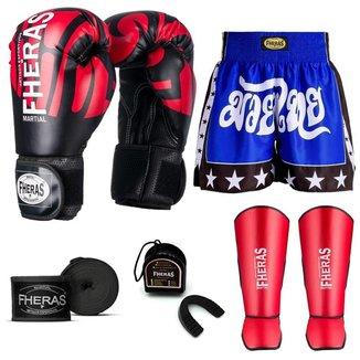 Kit Boxe Muay Thai Fheras Top Elite Vermelho (03002323)