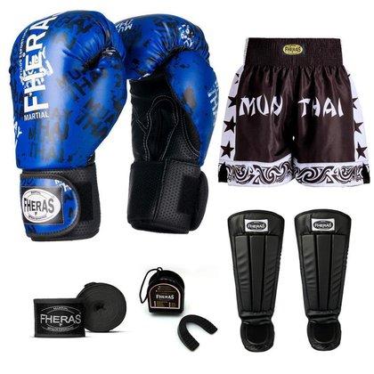 Kit Boxe Muay Thai Fheras Top Grafite Azul (03002857)
