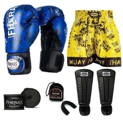Kit Boxe Muay Thai Fheras Top Grafite Azul (03002875)