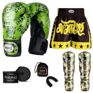 Kit Boxe Muay Thai Fheras Top Grafite Verde (03003176)