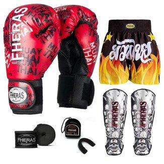 Kit Boxe Muay Thai Fheras Top Grafite Vermelho (03003352)