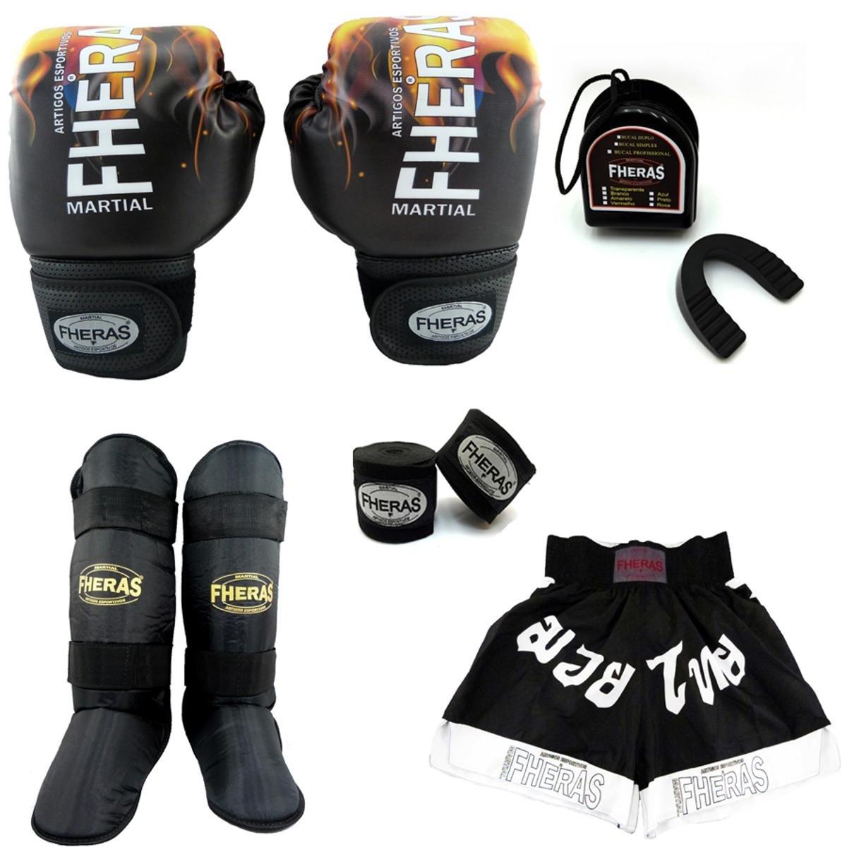 Kit Boxe Muay Thai Fheras Top Luva Bandagem Bucal Caneleira Shorts Fheras  12 OZ ... 332f12e336a13