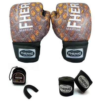 Kit Boxe Muay Thai Fheras Top Luva Bandagem Bucal