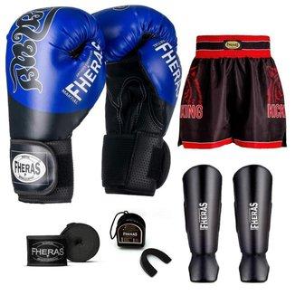 Kit Boxe Muay Thai Fheras Top Tailandesa Azul (03002763)