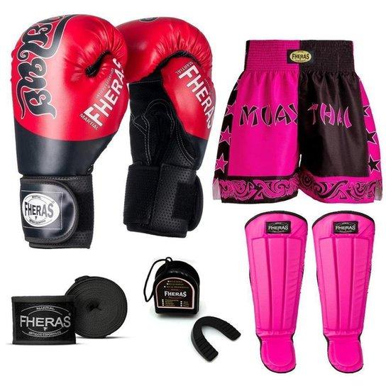 Kit Boxe Muay Thai Fheras Top Tailandesa Vermelho (03002611) - Vermelho