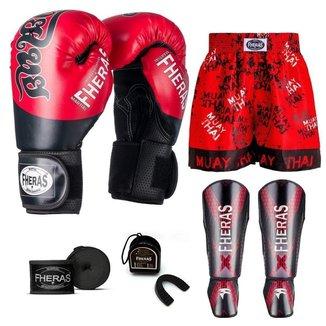 Kit Boxe Muay Thai Fheras Top Tailandesa Vermelho (03002705)