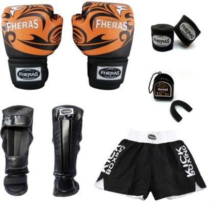Cupom Desconto Kit Boxe Muay Thai Luva Bandagem Bucal Caneleira Shorts 08 OZ Top Tribal
