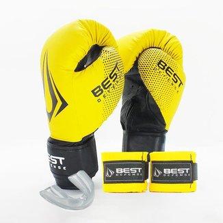Kit Boxe Muay Thai Luva Best + Protetor Bucal + Bandagem 3m - Amarelo - 10oz