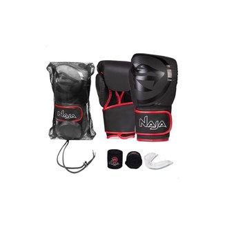 Kit Boxe Muay Thai - Luva Black Line + Bandagem + Protetor Bucal - Naja