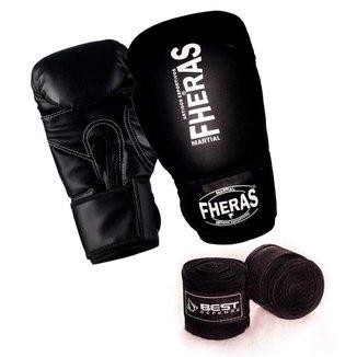 Kit Boxe Muay Thai Luva Fheras Bandagem 5m