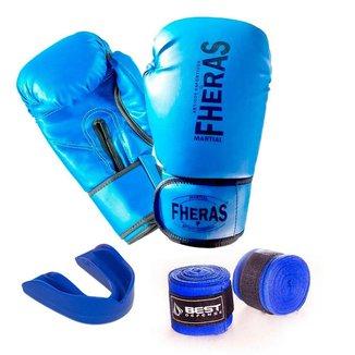 Kit Boxe Muay Thai Luva Fheras Protetor Bucal e Bandagem 3m
