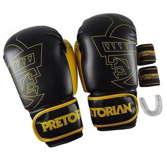 Kit Boxe Muay Thai Luva Pretorian Core Protetor Bucal e Bandagem 2,8 M