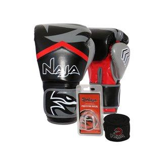 Kit Boxe Muay Thai Naja - Par Luva New Extreme+ Bandagem+Protetor Bucal - 14oz