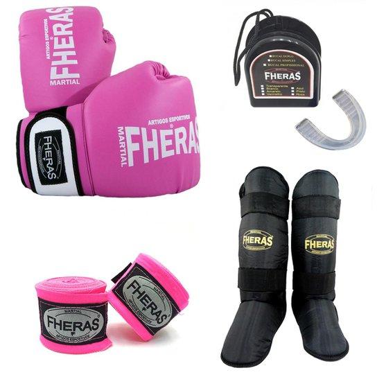 Kit Boxe Muay Thai Oríon Luva Bandagem Bucal Caneleira 08 OZ - Rosa