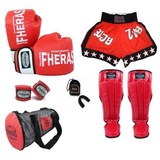 Kit Boxe Muay Thai Orion Luva Bandagem Bucal Caneleira Anatômica Bolsa Shorts ESTRELA 08oz - Vermelho