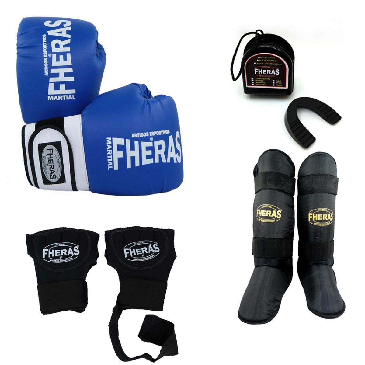 9c5a3cb81 Kit Boxe Muay Thai Orion -Luva Bandagem Rápida Bucal Caneleira-08 oz- -  Azul - Compre Agora