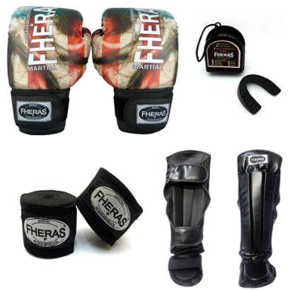 Kit Boxe Muay Thai Top - Luva Bandagem Bucal Caneleira Anatômica