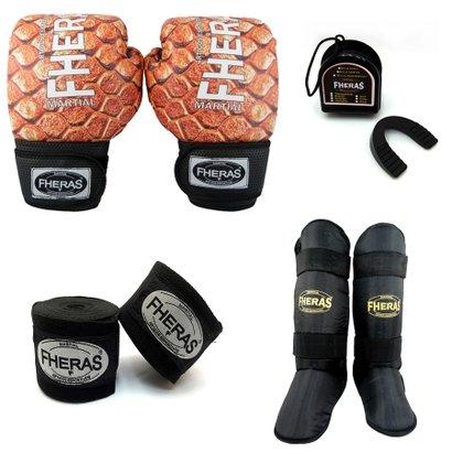 Kit Boxe Muay Thai Top - Luva Bandagem Bucal Caneleira Free Style