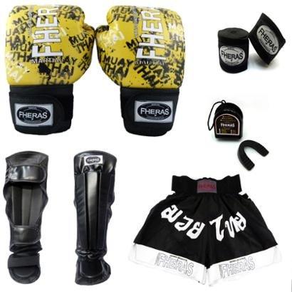 Cupom Desconto Kit Boxe Muay Thai Top Luva Bandagem Bucal Caneleira Shorts 08 OZ Grafite