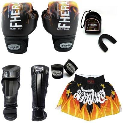Kit Boxe Muay Thai Top Luva Bandagem Bucal Caneleira Shorts 14 Oz