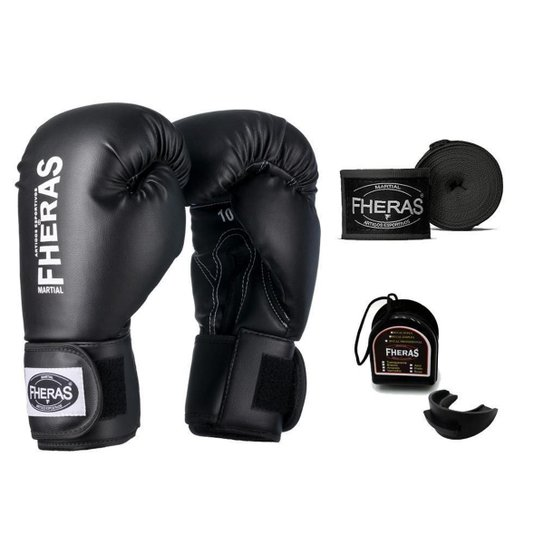 kit Boxe Muay Thai Tradicional - Preto