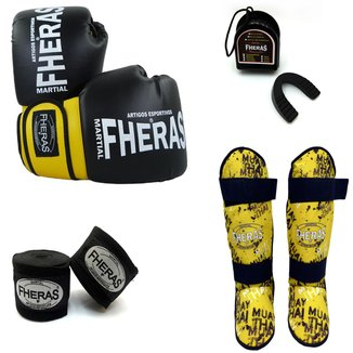 Kit Boxe Orion - Luva Bandagem Bucal Caneleira