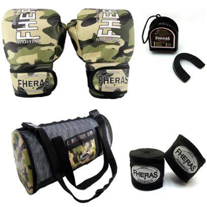 Kit Boxe Top Luva Bandagem Bucal Bolsa -14 oz