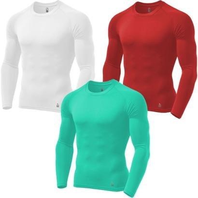 Kit C/ 3 Camisas de Compressão Térmica Stigli Pro Proteção FPU 50+ Manga Longa