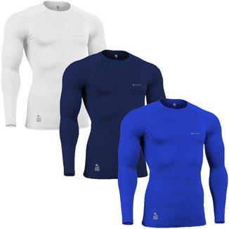 Kit C/ 3 Camisas de Compressão Térmica Stigli Pro Proteção Solar FPU50+  Poliamida